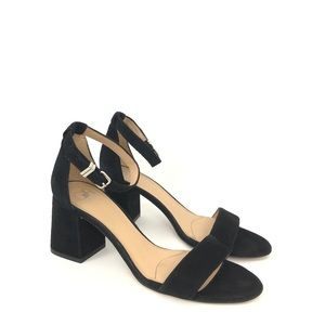 Gianni Bini Size 8 Black Suede Ankle Strap Sandals